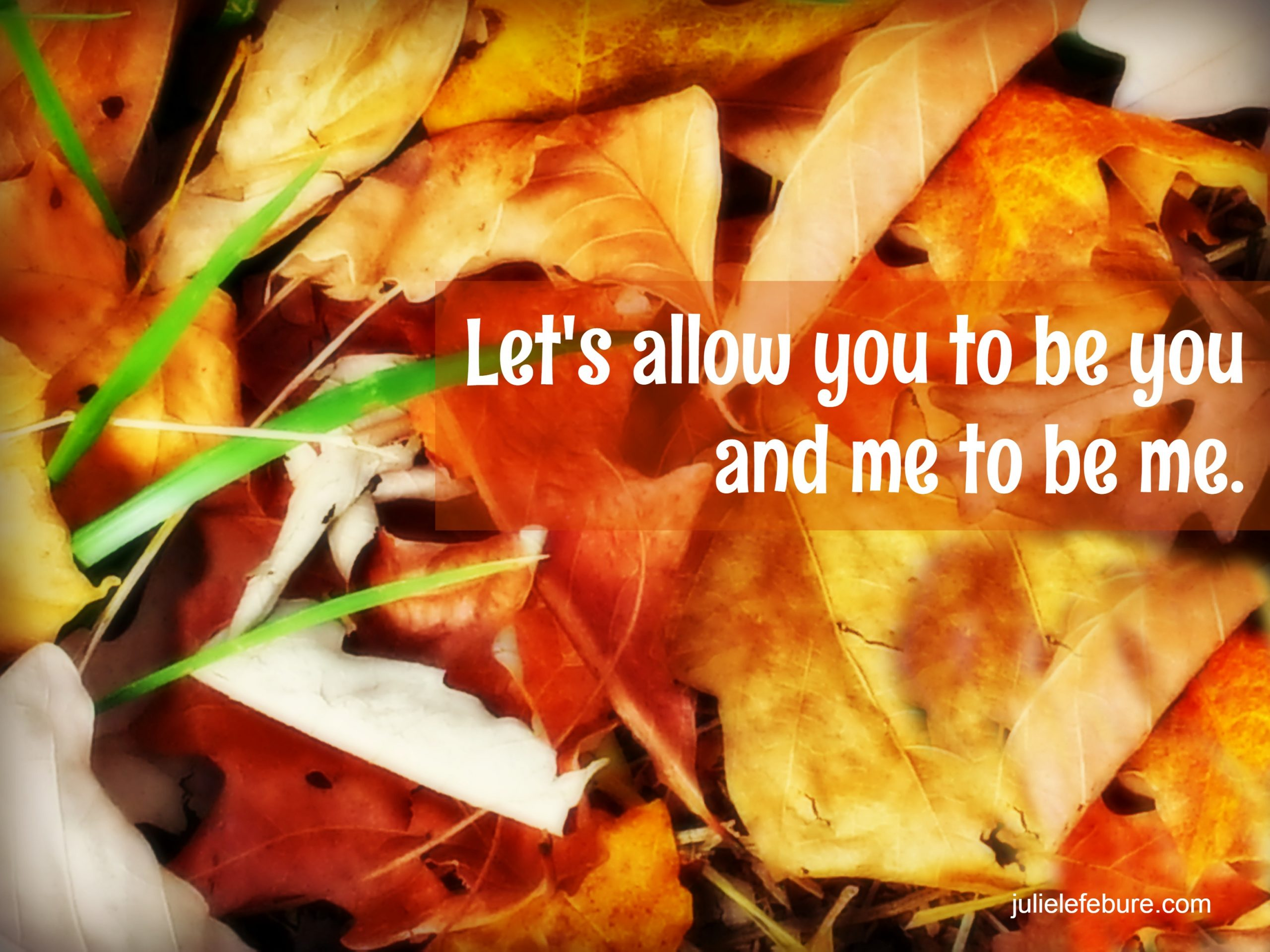 Allow You To Be You And Me To Be Me